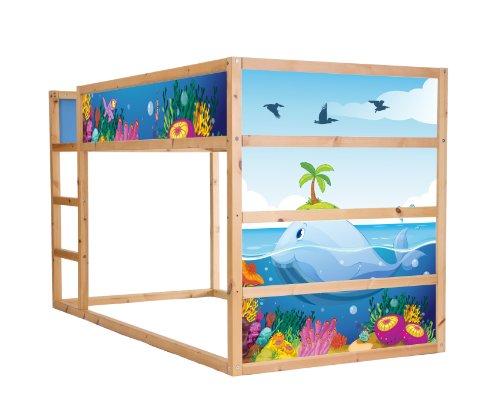 Stikkipix Unterwasserwelt Möbelfolie selbstklebend/Aufkleber - IM140 - passend für das Kinderzimmer Hochbett KURA von IKEA - Möbel Nicht Inklusive