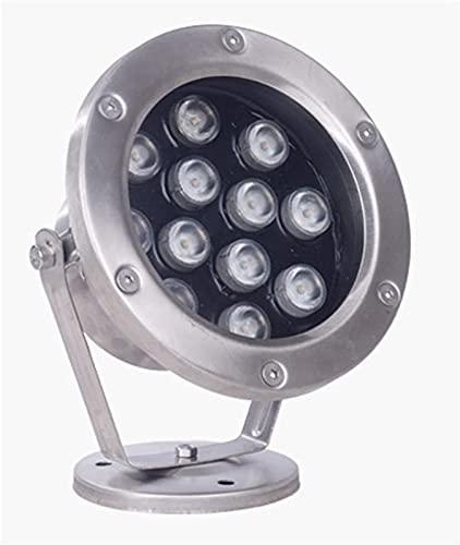 MWKLW Luz de Paisaje LED 24V Acero Inoxidable IP68 Impermeable Foco de Ajuste de ángulo Flexible Luz de Estanque de Peces Luz subacuática Colorida, 7 Colores de luz 9 Energía