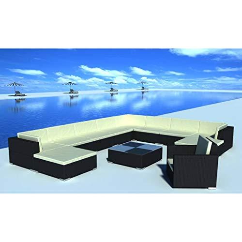 FAMIROSA 12-TLG. Conjunto de salón de jardín con Cojines de poliratán, Color Negro.
