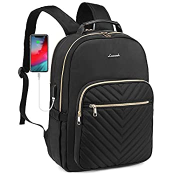 LOVEVOOK Quilted Laptop Backpack Stylish Laptop Bag for Women Work Computer Bags Bookbag Purse,15.6-Inch Black