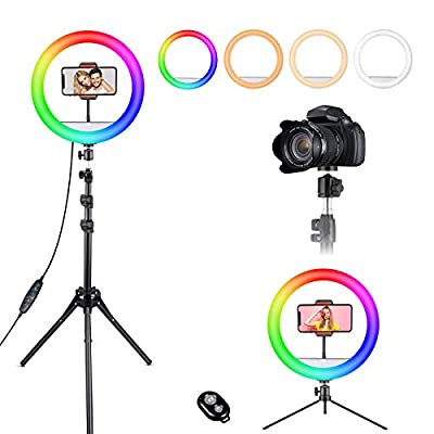 """12"""" Selfie Ring Light, RGB LED Ringlight 3200-6500K with Tripod Stand & Cell Phone Holder for Live Stream by LAVKOW"""