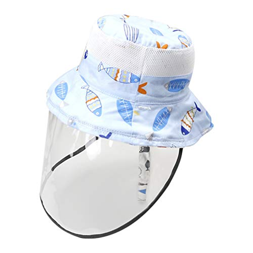 Artibetter 2pcs Kids Safety Face Shield Fisherman Hat Anti Fog Splash Proof Face Eye Head Protection with Detachable TPU Face Cover for Outdoor First Aid Use Supplies 52cm