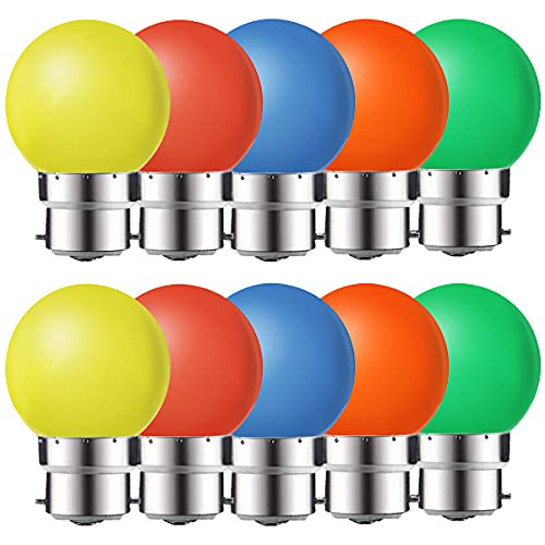 MZYOYO Lot de 10 Ampoule Couleur LED B22 1W,Ampoule LED à Baïonnette,1W G45 Ampoule Écoénergétique Colorée Couleur,80L M,Équivalent 10W,Ampoules Guirlande Orange Rouge Jaune Vert Bleu