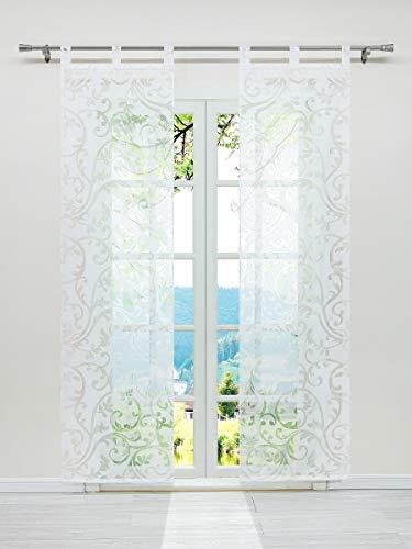 ESLIR Schiebegardinen Ausbrenner Flächenvorhänge Set 2er Gardinen mit Schlaufen Schiebevorhang Transparent Vorhang Weiß BxH 57x225cm 2 Stück
