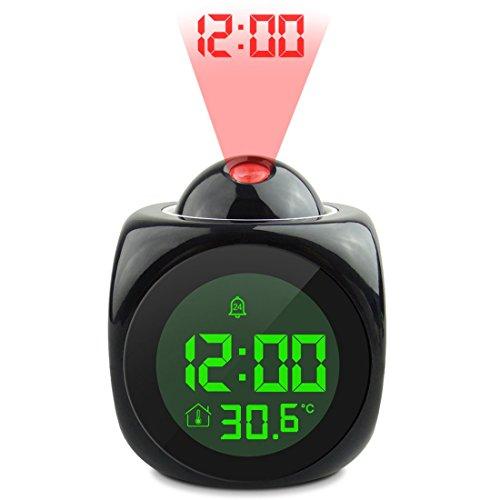 joyliveCY Reloj de Alarma de proyección, función de Hablar de Voz LCD Digital, proyección de Pared/Techo LED con Diferentes Modos de Tiempo-Negro