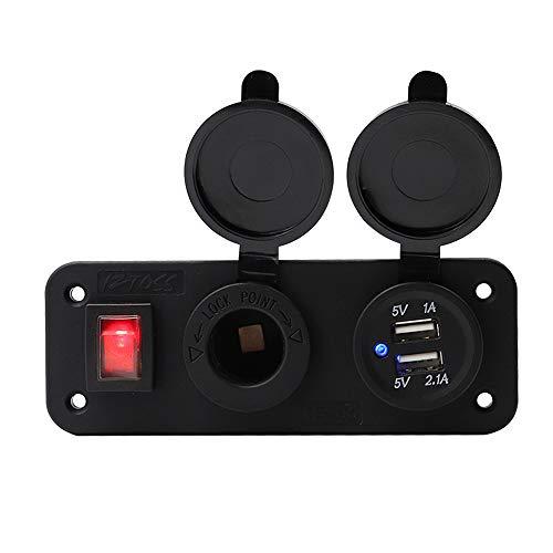 KKmoon - Panel de Interruptor automático, Cargador de Coche Doble USB 12 V con Toma de mechero, indicador LED para Marino, Barco, Coche, RV, Vehículo, Camión