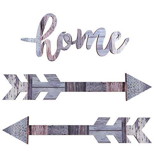 Jetec Home Cutout Wood Sign Wooden Arrows Wall Decor Rustic Wood Arrow Sign Decoration for Home Farmhouse Living Room Kitchen Dining Bedroom Bathroom