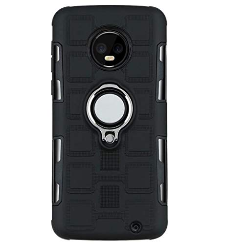 NANXCYR Für Motorola Moto G4/G4 PLUS/E4/E4 PLUS/G5/G5 PLUS/G5S/G5SPLUS Fall, 2 in 1 TPU PC Kasten unsichtbaren Ring Bracket-Funktion Anti-Fall-Abdeckung, für MotoG6 / G6PLUS,Schwarz,MotoG4/G4PLUS