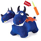 iPlay, iLearn Blue Bouncy Horse Hopper Toys, Plush Cover Two-Headed Hopping Dragon, Inflatable Ride Animal W/ Pump, Outdoor Indoor Jump Gifts for 18 24 Month, 2 3 4 Year Olds, Boys Kids Toddlers Girls