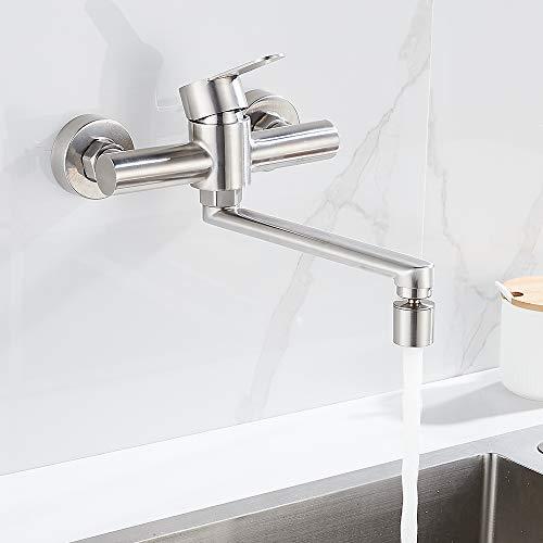 Grifo de pared para cocina, giratorio 360°, acero inoxidable 304, grifo de pared, grifo monomando para cocina, con caño giratorio
