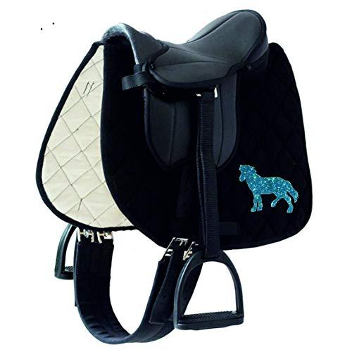 Sattelset Little Pony/Star für Holzpferde/Shetty mit Schabracke Sparkling Pony (Schabracke schwarz Pony Sparkling Blue)