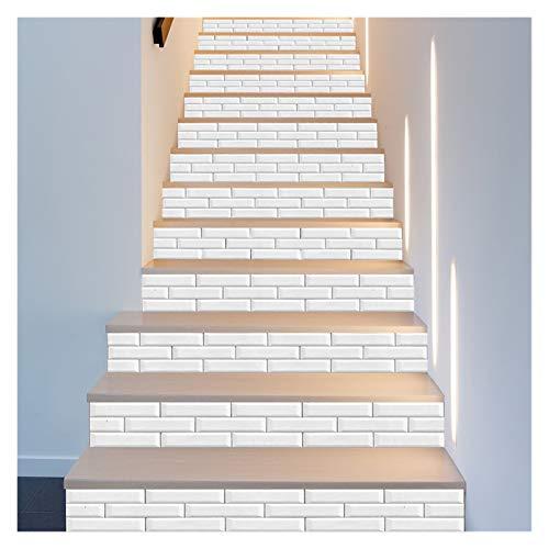 WENYOG Escaleras Pegatinas Blanco Patrón de ladrillo Escalera Etiquetas de Pared Cocina Azulejos de baño Decoración para el hogar Art Mural Peel Stick Impermeable DIY Fondo de Pantalla