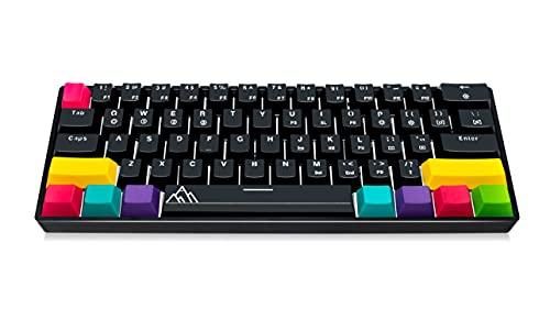 Asceny One – 60prozent mechanische Tastatur, echte RGB-Lichter, spritzwassergeschützt, kabelgeb&en, 60prozent Tastatur (Gateron Red)
