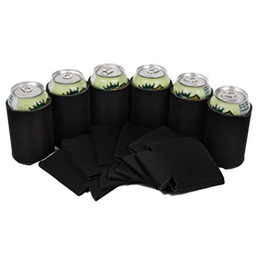 QualityPerfection 25 Black Blank Can Coolers - Drink Beer,Soda Coolies Sleeves | Soft,Insulated Coolers | 30 Colors | Perfect For DIY Projects,Holidays,Events (25, Black + Box)