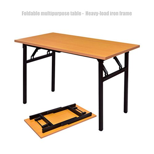 Koonlert@Shop Folding Desk Laptop Writing Wooden Table Durable MDF Board Desktop Powder Coated Steel Frame Workstation Home Office Furniture #1353