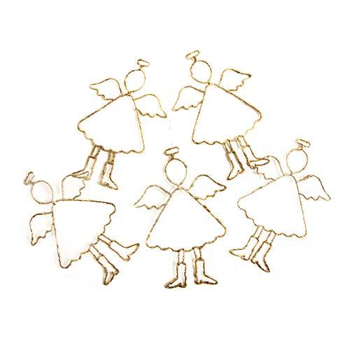 5 große goldene Weihnachten Engel FILIGRAN Draht 17 cm Schutzengel Weihnachtssgeschenk Engelsfigur zum Aufhängen Weihnachtsanhänger Weihnachtsdeko