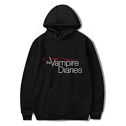 WAWNI The Vampire Diaries Merch Hoodies Damen / Herren Langarm Pullover Sweatshirts Harajuku Casual Kapuzenkleidung Unisex Gr. 38, Schwarz