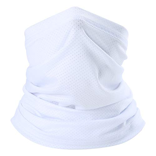 SUNMECI Summer Face Mask Breathable Sun Protection Neck Gaiter for Fishing Hiking Camping Outdoors Versatile Headwrap White