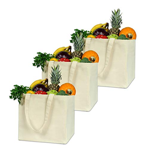 Reusable Grocery Bags XL 3 Pack Heavy Duty Double Bottom Organic Canvas Tote Bags Shopping Bags