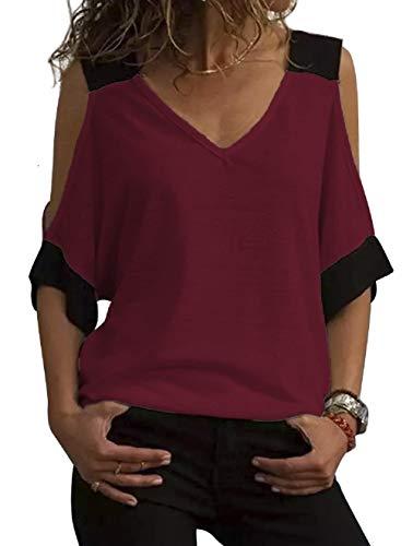 Camicia Spalle Scoperte Donna a Manicotto 3/4 Maglia Color Block T Shirt off Shoulder Tunica Elegante Taglie Forti Blusa Scollo Bardot Maglietta Estiva Ragazza Tumblr Casual Camicetta Top Tinta Unita