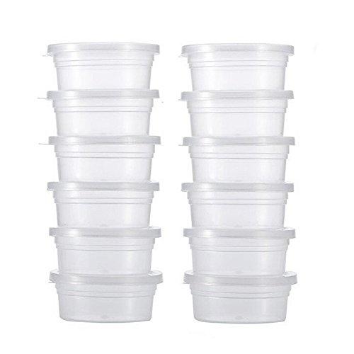 Amesii - Confezione da 12 contenitori rotondi in plastica trasparente per melma, con coperchio, colore: Trasparente