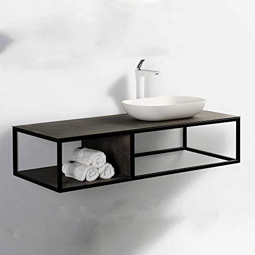 Pharao24 Design Waschtisch in Schwarz und Eiche Grau Dekor Aufsatz Waschbecken