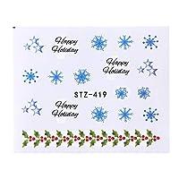 1ピースクリスマスウォーターステッカースライダー用ネイルアート白黒雪花サンタ雪だるま装飾ステンシルのヒントSASTZ419-439 STZ419