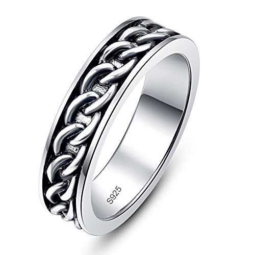 AVECON 6mm Mens Black and 925 Sterling Silver Wedding Ring Curb Chain Band Jewellery Gift for Him Father's Day Size T 1/2