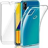 Leathlux Cover Samsung Galaxy M30s Custodia Trasparente + 2 × Pellicola Vetro Temperato,...