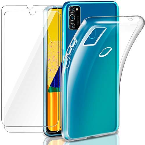 LeathLux Hülle Kompatibel mit Samsung Galaxy M21 / M30s mit 2 Stück Panzerglas Schutzfolie, Durchsichtig Hülle Transparent Silikon TPU Schutzhülle 9H Festigkeit HD Panzerglasfolie für Samsung M30s/M21