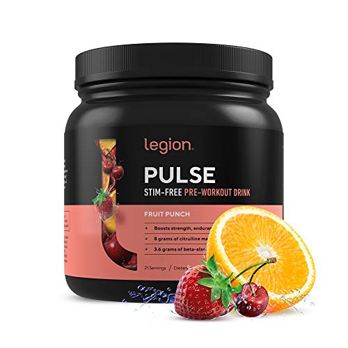 Legion Pulse, Best Caffeine Free Natural Pre Workout Supplement for Women and Men – Powerful Nitric Oxide Booster, Non Stimulant w/ Beta Alanine, Citrulline and Alpha GPC, (Caffeine Free Fruit Punch)