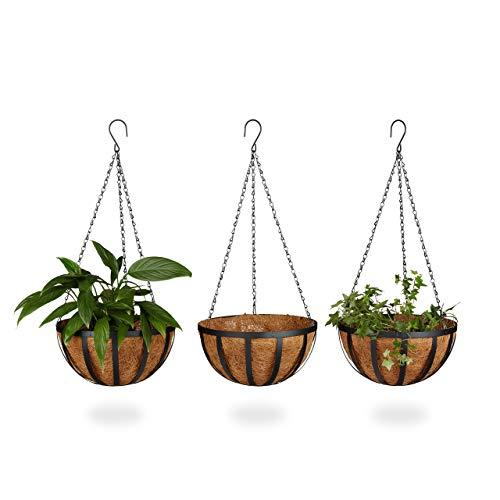 Relaxdays Blumenampel 3 Körbe, Kokos, 21 Liter Volumen, mit Kette, 30 cm Durchmesser als Hängeampel, braun
