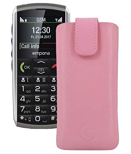 Original Favory Etui Tasche für emporia CLASSIC Leder Etui Handytasche Ledertasche Schutzhülle Hülle Hülle Lasche mit Rückzugfunktion* in rosa