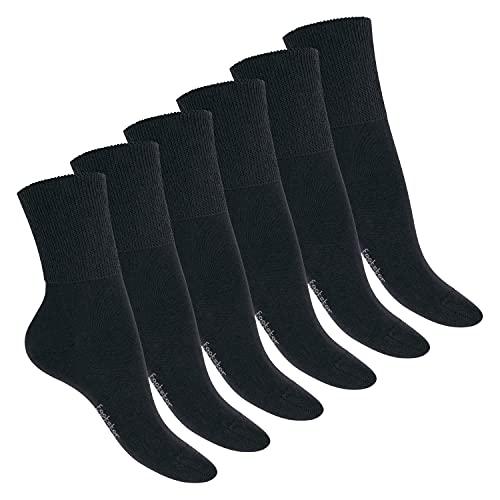 Footstar Damen und Herren Ges&heits Socken (6 Paar), Nahtfreie Diabetikersocken - Schwarz 39-42