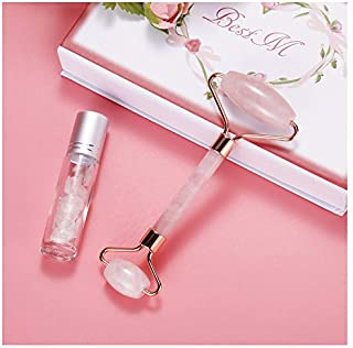 Jade Roller, Natural Rose Quartz Roller with Essential Oil Jade Roller Bottle for Skincare Face Eye NeckSlimming & Firming Rejuvenate Skin