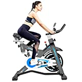 Afully Indoor Exercise Bike Indoor Cycling Bike Stationary,Magnetic Resistance& Belt Drive& Spring Shock Absorber& Tablet Holder Stable and Quiet(D600-9)