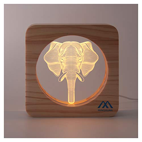 Elephant Head Led Night Light Low Power & Energy Used Wooden-Frame Button Switch Soft Warm Light Best Gift Bedroom Home Decoration