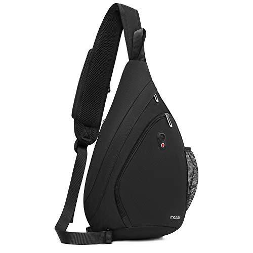MOSISO Sling Hiking Backpack,Travel Daypack Fan-shaped Crossbody Shoulder Bag, Black