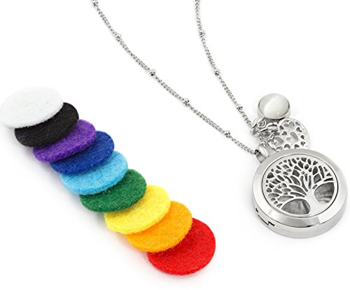 """Aromatherapy Essential Oil Diffuser Necklace Jewelry - Aromatherapy Jewelry - Hypoallergenic 316L Surgical Grade Stainless Steel, 20.8"""" Chain + 9 Washable Insert Pads + Charms …"""