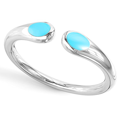 Metal Factory Sterling Silver Double Sided Blue Enamel Adjustable Toe Band Ring