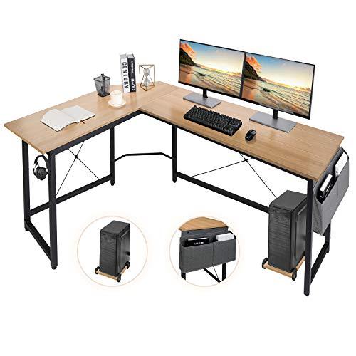 AuAg L-förmiger Schreibtisch,167cm L-Form Computertisch mit Aufbewahrungstasche und Haken, Eckschreibtisch Stabiler PC Laptop-Tisch, Größerer Workstation Gaming-Schreibtisch (Wood)