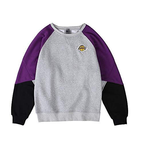 LHDDD NBA Maglione Tuta da Ballo con Ricamo Lakers Sport da Basket NBA più Giacca in Maglione Caldo Caldo in Pelle Morbida Velluto. Multi-Colored-XXL