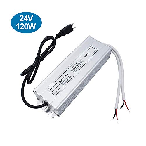inShareplus LED Power Supply, 24V 120W IP67 Waterproof Outdoor Driver, AC 90-265V to DC 24V 5A Low Voltage Transformer, Adapter with 3-Prong Plug for LED Light, Computer Project, Outdoor Use