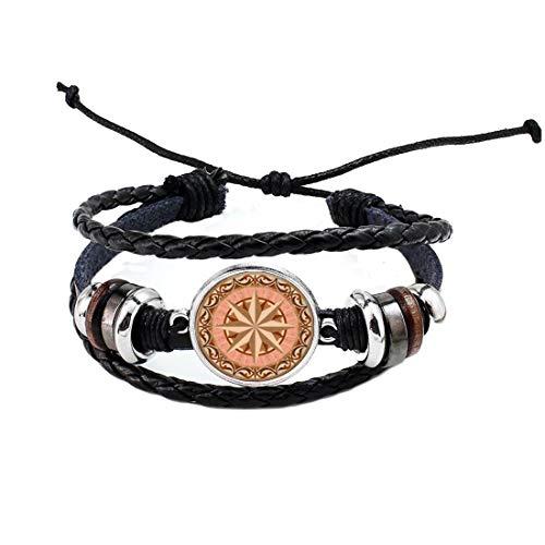 Celtic Jewelry-Colores neutros - Pulsera de cristal abovedado de 1 pulgada de diámetro, diseño de brújula rosa #212
