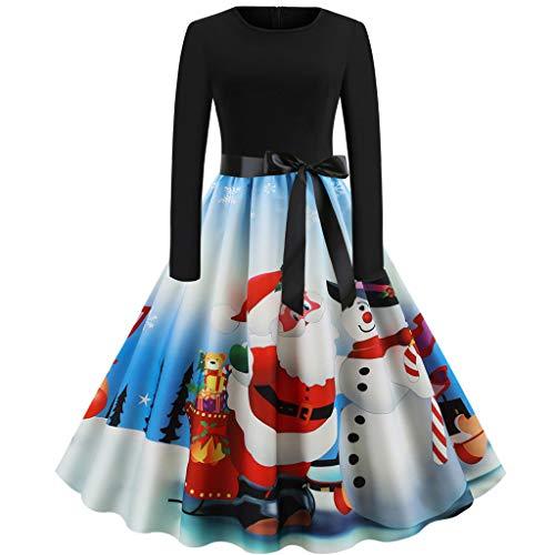 YBWZH 2019 Kleider Damen Weihnachtskleid Weihnachtsknopf Bedruckt Rock Kleid Frauen Vintage...
