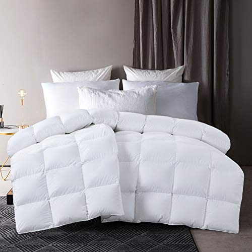 HOMBYS Extra Thick Goose Down White Comforter King Size Duvet Insert,Extra Fluffy Bed Winter Heavy Warm Comforter,76oz Fill Weight,100% Cotton Down Proof Cover with Corner Ties(King(90x106in), White)