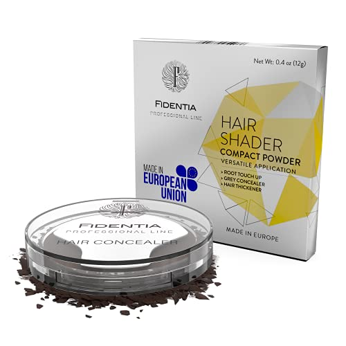 Fidentia Hair Shader 12g | Made in EU | Haar Concealer Puder zur Haarverdichtung, Ansatz & Geheimratsecken kaschieren - Dunkles Mittelbraun