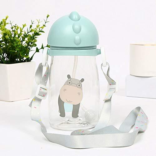 DLY Kinder Cartoon Tierschule Trinkwasser Stroh Flasche Stroh Stroh-Cup mit Schultergurt 420ml Cup,BH,Vereinigte Staaten