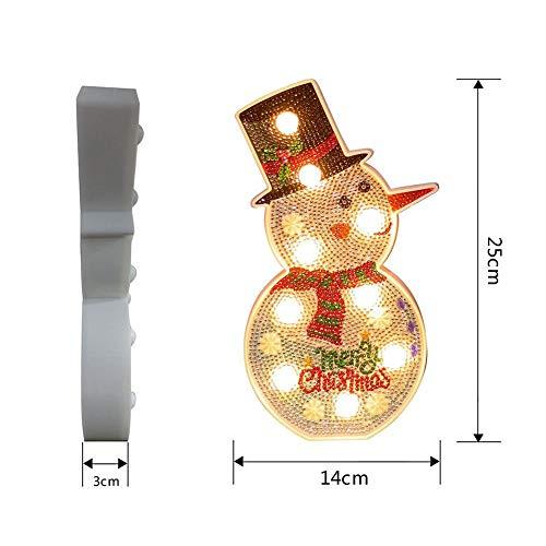 ZHQIC 1 PC luces LED DIY diamante pintura noche luz árbol Navidad muñeco de nieve luces para Navidad boda decoración
