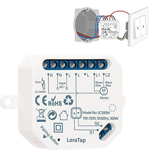 LoraTap WIFI Smart-Einbauschalter Relais Modul für elektrische Rolläden Vorhänge, Jalousien und Markisen Zeitschaltuhr Schalter Rolladenzeitschaltuhr Timer für Rolladenmotor